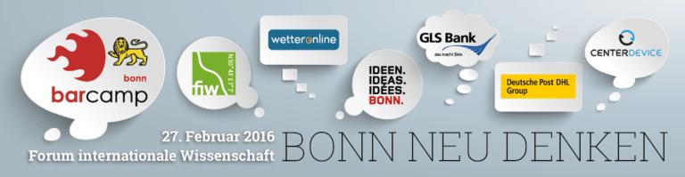 Unsere Sponsoren: Deutsche Welle, CoworKing Bonn, Rheinland Relations und Gustav Stresemann Institut