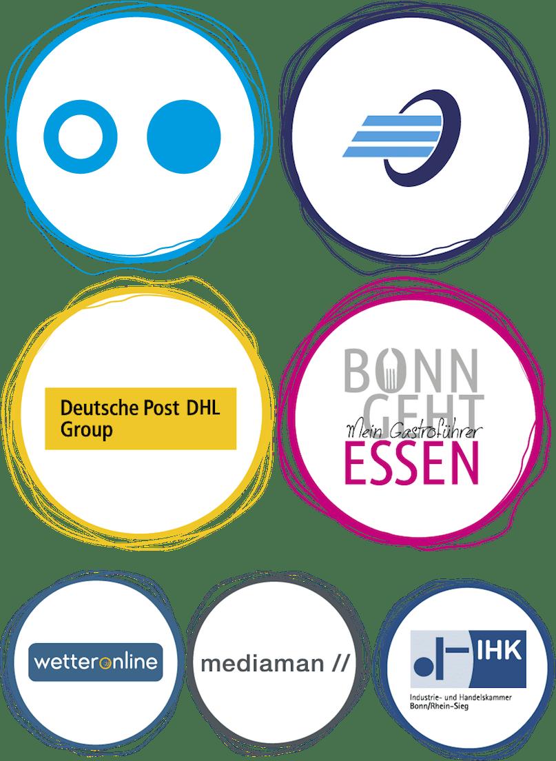 Unsere Hauptsponsoren: Hochschule Bonn-Rhein-Sieg, CENTIM, Deutsche Post DHL Group, Bonn geht essen sowie WetterOnline, Mediaman und IHK Bonn/Rhein-Sieg