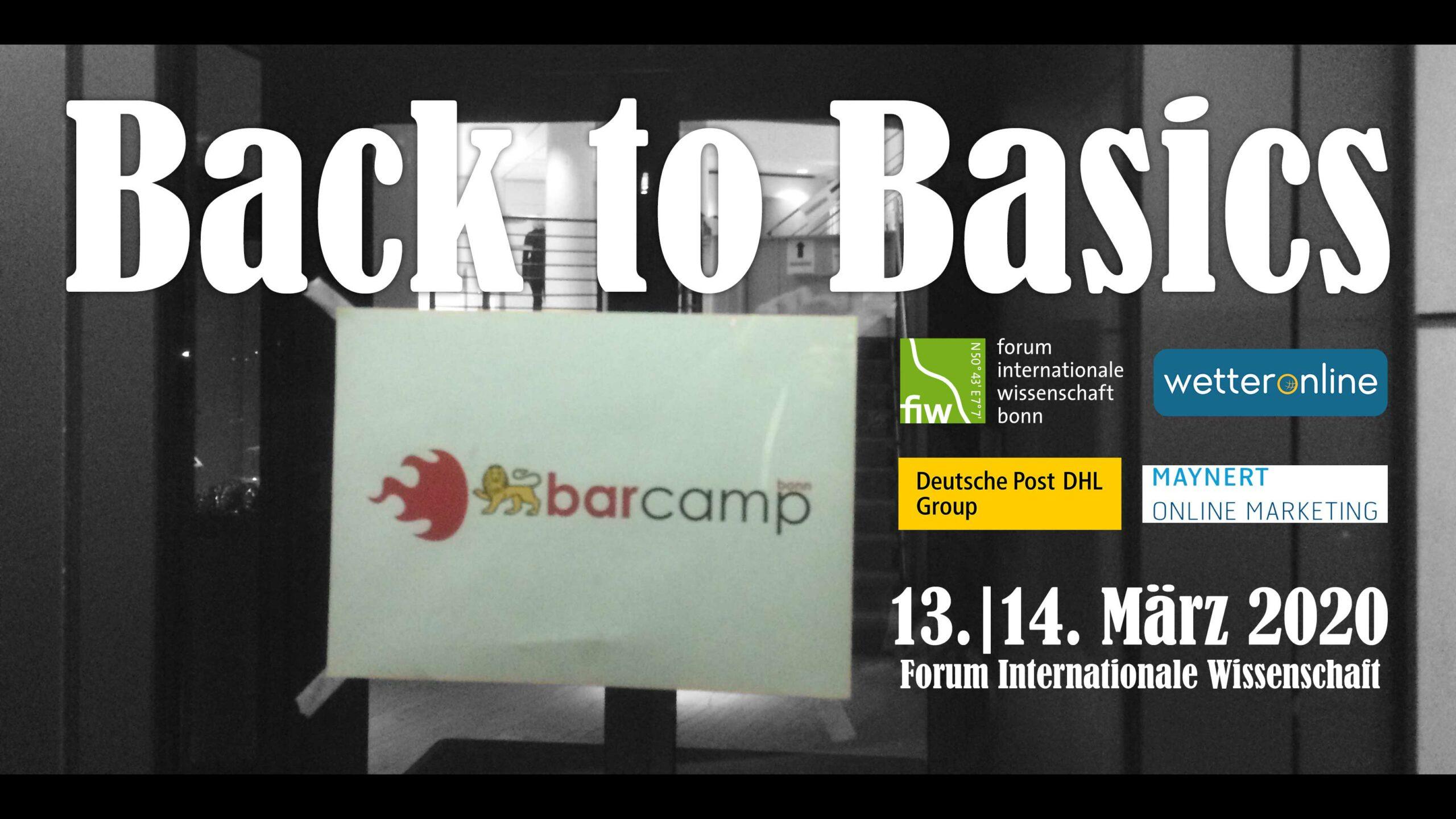 """Ein Banner mit dem Motto """"Back to Basics"""", Sponsorenlogos, Datum und Ort"""