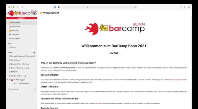 Screenshot einer ersten Installation des BarCamp Bonn 2021. Viel weiß, links eine hellgraue Seitenleiste, zwei Mal ein großes Logo.